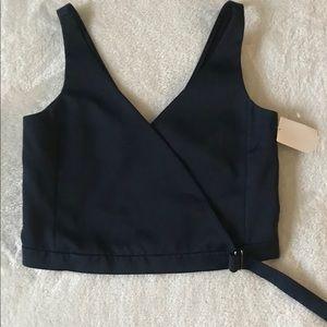 TNWT Trafaluc Zara Women's Wrap Navy Crop Blouse